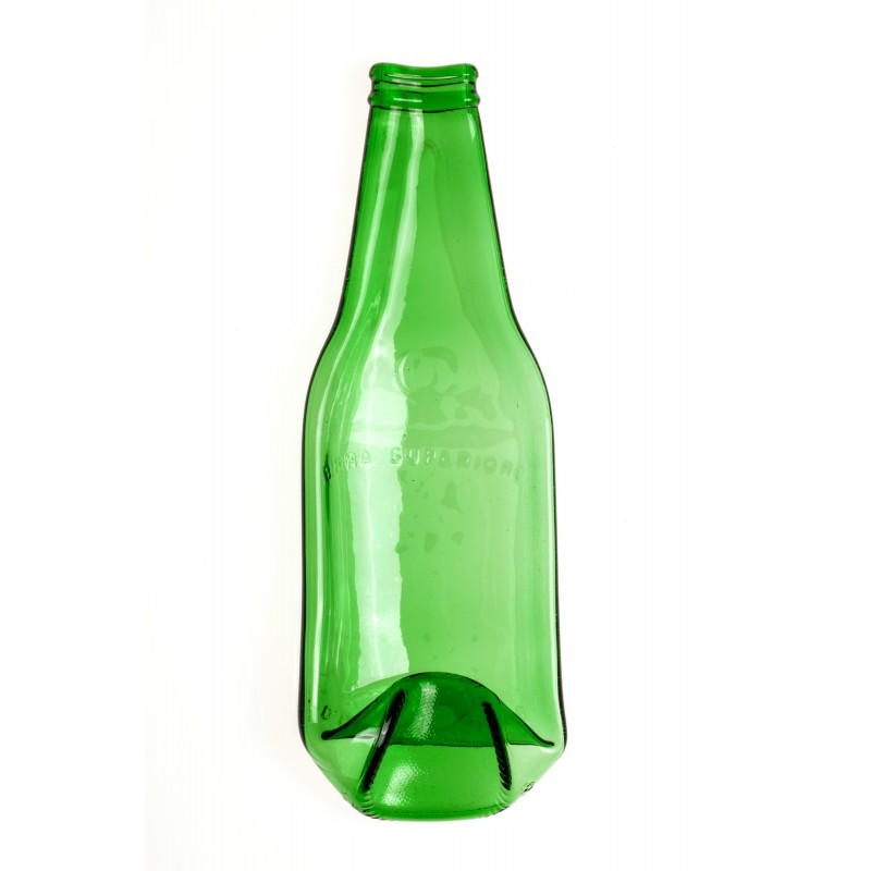 small green beer bottle plate