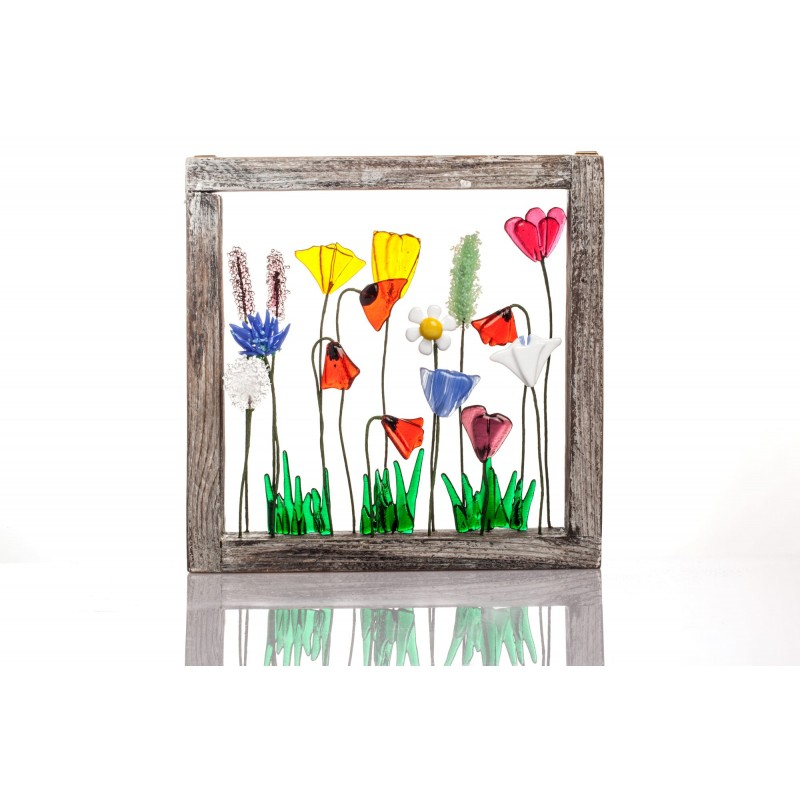 frame with mixed flowers