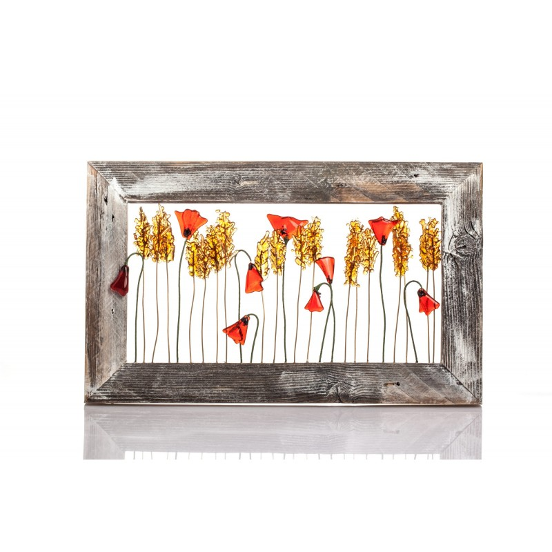 frame whit wheat sprigs and poppies